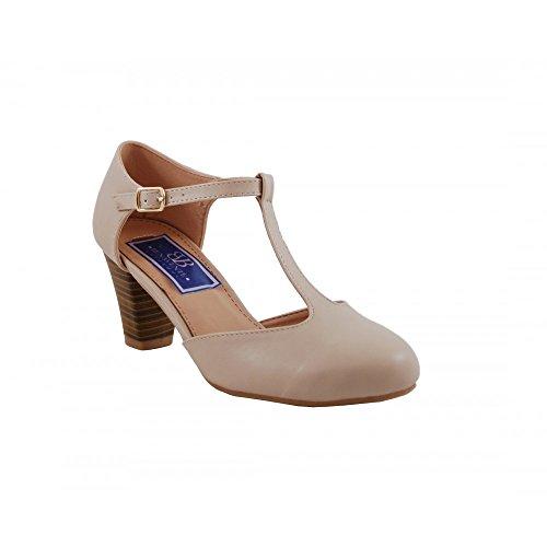Benavente - Zapato de salón tacón medio hebilla nude - Benavente Nude
