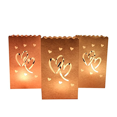AerWo 50 Pieces Double Heart Tea Light Holder Luminaria White Paper Lantern Candle Bag Wedding Party Valentine's Day Holiday Decoration