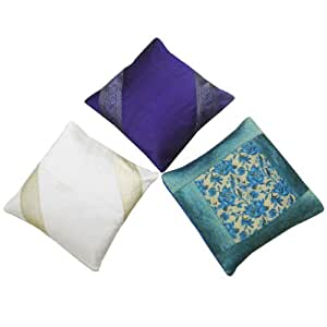 Decorativo Patchwork Brocade Cojín Azul Wholesale Lot 3Pillow Casos pulgadas India 16 de regalo ""