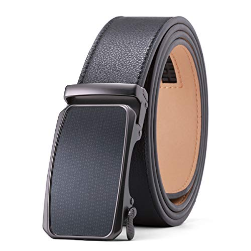Men's Dress Adjustable Ratchet Belt - Black Leather Belts Automatic Buckle Solid Zine-Alloy