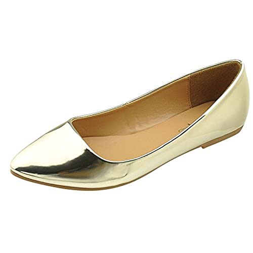 Bella Marie Women's Patent Pointed Toe Classic Ballet Flats,9 B(M) US,Gold