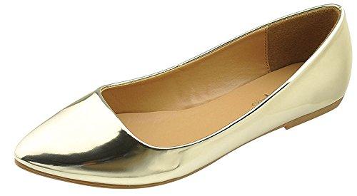 Bella Marie Frauen Patent Spitz klassische Ballerinas Gold
