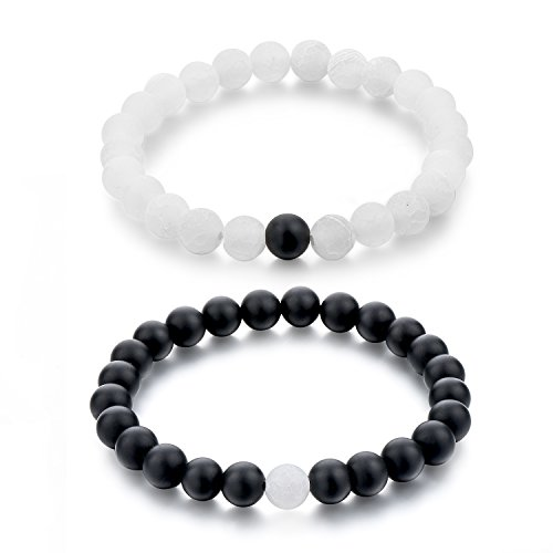 - Couple Black Matte Agate & White Frosted Agate 8mm Beads Bracelet His and Hers Relationship Friendship Distance Bracelet