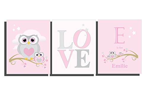 Girls Pink Nursery Decor Customize Baby Girls Room Owl Wall Art Set of 3 Unframed Prints 8 x 10 inches Personalize Girls Bedroom Name Letter Initial Baby Shower Gift