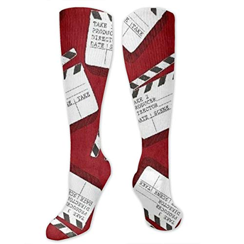JrexsG Lights Camera Action Clap Board Long Dress Socks Cotton Sport Comfortable Breathable Over-The-Calf Tube ()
