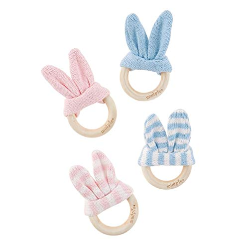 Mud Pie Bunny Ear Wooden Teethers (Pink)