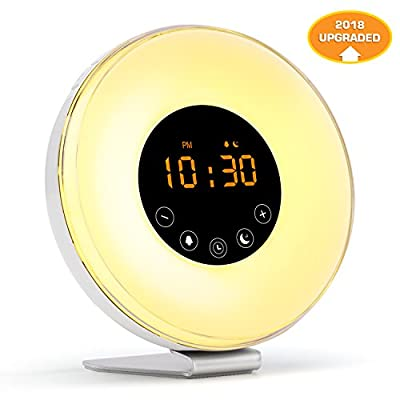 Fiery Youth [2018 Upgraded] Wake Up Light Digital Alarm Clock with Sunrise Simulation - 6 Nature Sounds, FM Radio,