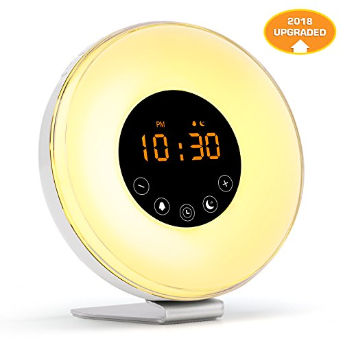 Wake Up Light with Sunrise Sunset Simulation [2018 UPGRADED] 6 Natural Sounds/FM Clock Radio/10 Brightness Levels/7 Colors Night Light/Snooze Function Alarm Clock