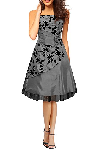 Black Butterfly 'Sia' Satin Essence Prom Dress (Silver, US 16)