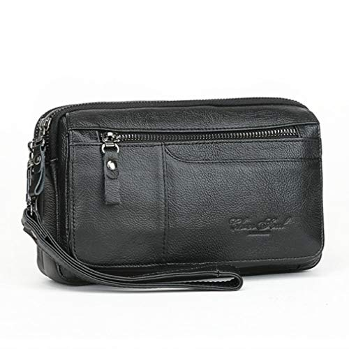 Men Leather Clutch Purse Wallet Wristlet Zipper Passport Coin Phone Card Carrier Organizer Holder Wrist Bag Pack For Business Travel Casual Handbag Black