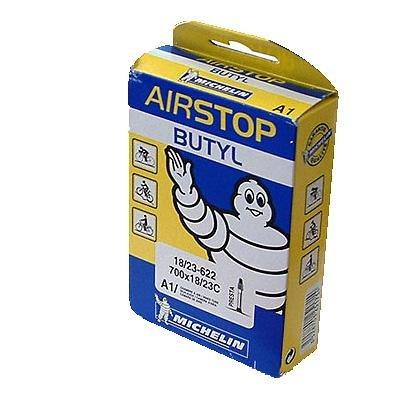 (Michelin A1 AirSTOP Butyl Road Bike Tube - Presta Valve - Yellow/Blue Box (700 x 18/23 - Presta 52mm))