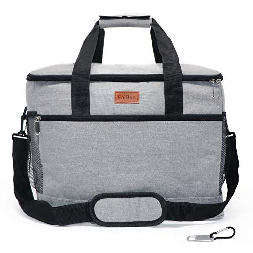 ENIBON Collapsible Cooler Lunch Bag, 30L Portable Insulated Cooler Bags with Easy-Opening Design Leakproof Lunch Box for Travel, Picnic, Car, Beach and Outdoor Activities, Grey