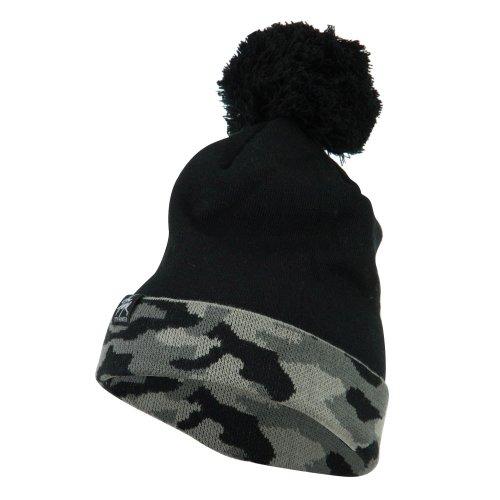 Camouflage Cuff Pom Beanie - Grey OSFM