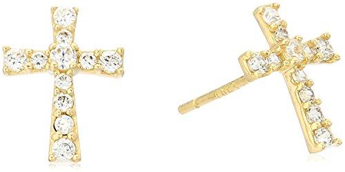10k Gold AAA Cubic Zirconia Cross Stud Earrings