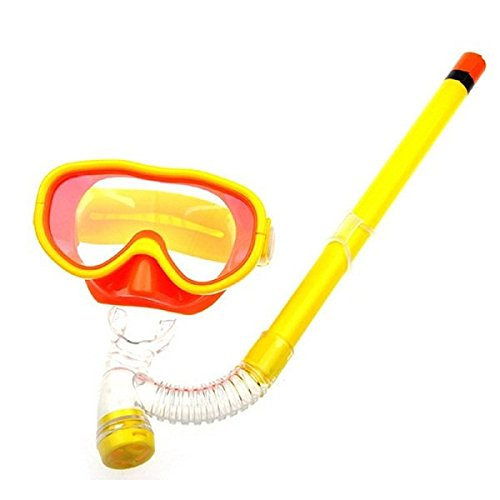Swim Scuba (Kids Silicone Scuba Swimming Swim Diving Mask Snorkel Glasses Set Anti Fog Goggles (Yellow))