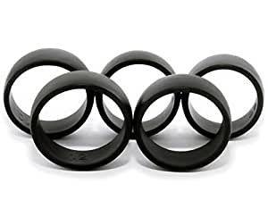 5 Silicone Wedding Rings Men's Sizes 8,9,10,11,12. Insures Getting a Ring That Fits the First Time.  Silicone Wedding Band Is Made of Black Hypoallergenic Medical Grade Silicone