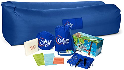 The New Castaway Reef Inflatable Lounge Chair Hammock, made with top-grade materials and real nylon. More comfortable than any beach chair, camping chair, airbed, air sofa, hammock or party lounger - Dream Quest Twin Sleeper