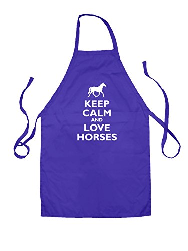 Horse Apron (Dressdown Keep Calm and Love Horses - Kids Unisex Fit Apron-Purple-7-10YRS)