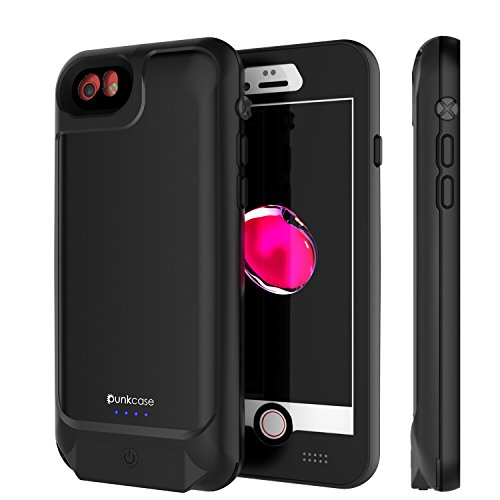 Punkjuice iPhone 8/7/6s/6 Battery Case - Waterproof Slim Portable Power Juice Bank W/ 3000mAh High Capacity - Fastcharging - 120% Extra Battery Life for Apple iPhone 6/6s/7/8 [Black]