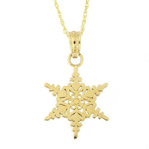 Beauniq 14k Yellow Gold Snowflake Pendant Necklace (Pendant only) ()