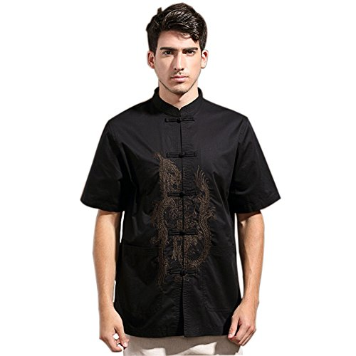 Mens Chinese Kung Fu Short Sleeve Cotton Tang Shirt with Dragon Embroidery Black Size S