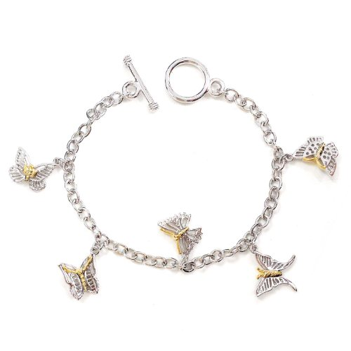 Sterling Silver Butterfly Toggle (.925 Sterling Silver Butterfly Charm Bracelet 7.5 inches)