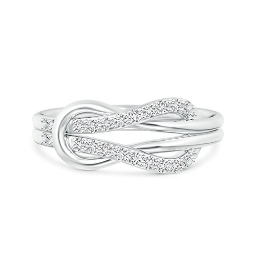 - Encrusted Lab Grown Diamond Infinity Love Knot Ring in 14k White Gold