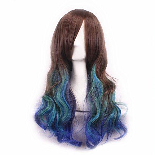 Ourlove Fashion Women's Mixed Colors Hair Wigs Beautiful Long Wavy Cosplay Halloween Wig (Long Blue Wig Halloween)