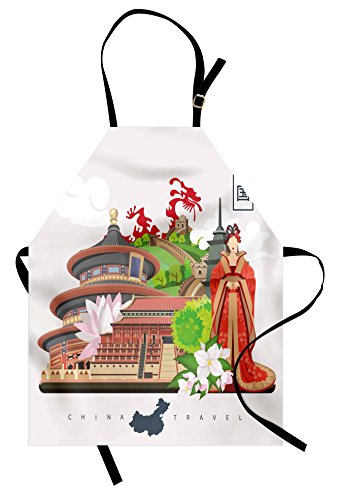 Ambesonne Vintage China Apron, Vintage Style Chinese Attributes of Phoenix Dress Lotus Flower Dragon Palace, Unisex Kitchen Bib with Adjustable Neck for Cooking Gardening, Adult Size, Red -