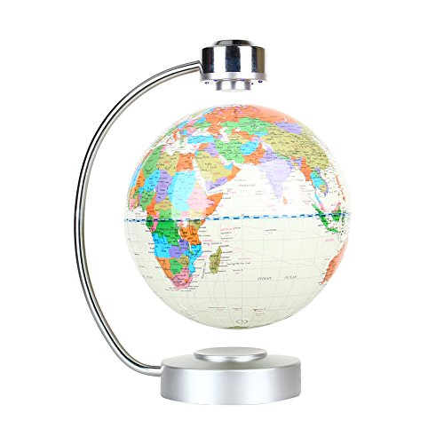 "Floating Globe, Office Desk Display Magnetic Levitating and Rotating Planet Earth Globe Ball with World Map, Cool and Educational Gift Idea for Him - 8"" Ball with Levitation Stand (White)"