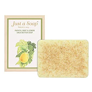 Just A Soap, Papaya, Mint And Lemon Handmade Whitening, Blemish & Pigmentation Control Soap with Shea Butter, made from…