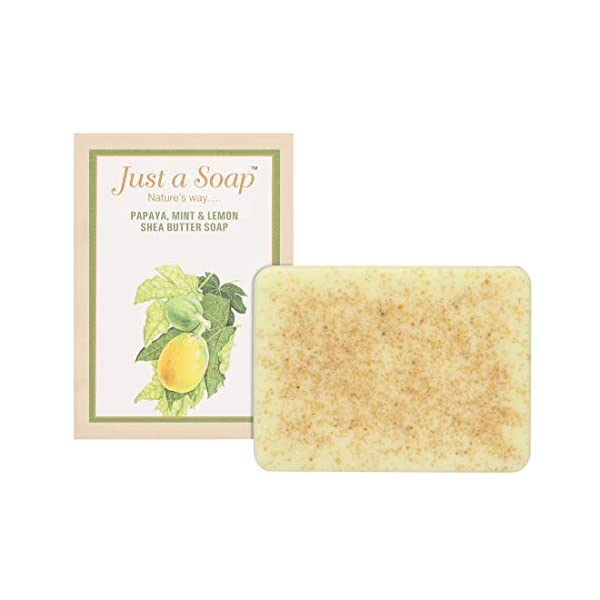 Just A Soap, Papaya, Mint And Lemon Handmade Whitening, Blemish & Pigmentation Control Soap with Shea Butter, made from… 2021 June This soap is made of papaya extract, mint essential oil, Lime essential oil and shea butter. Papaya, mint and lime soap helps in skin whitening, reduction of blemishes and pigmentation at the same time hydrates and tones your skin. Papaya extract helps in skin whitening, reduction of pigmentation and blemishes at the same time gently removing the dead skin cells to give a moisturised and brighter skin experience. Mint essential oil is a natural astringent and toner for the skin while Lime is natural bleaching and exfoliating agent. Vitamin C, and citric acid present in lime brightens skin, removes acne, dark spots and black heads.