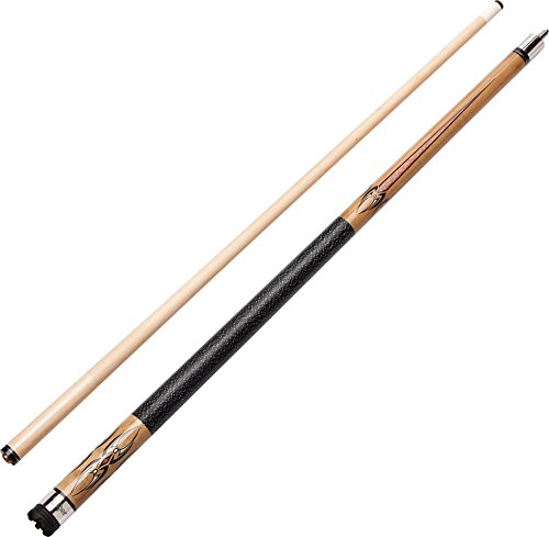 "Viper Sinister 58"" 2-Piece Billiard/Pool Cue, Natural Ash with Amber/Black Points, 21 Ounce"