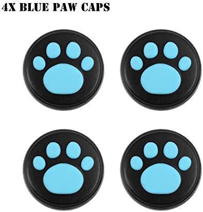 HTBG 任天堂スイッチゲームアクセサリー用シリコーン滑り止め保護スキンケースカバーグリップジョイスティックキャップシェルラップコンソールバンパー (Color : 4X Blue Paw Caps)