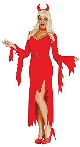 Ladies Sexy Long Red Devil Demon Satan Lucifer Hell Halloween Fancy Dress Costume Outfit (UK -