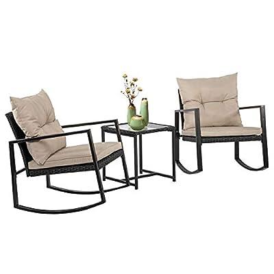 BestMassage 3 Pieces Outdoor Rocking Chair Bistro Set Conversation Wicker Rattan Set Lawn Garden Backyard Balcony Furniture