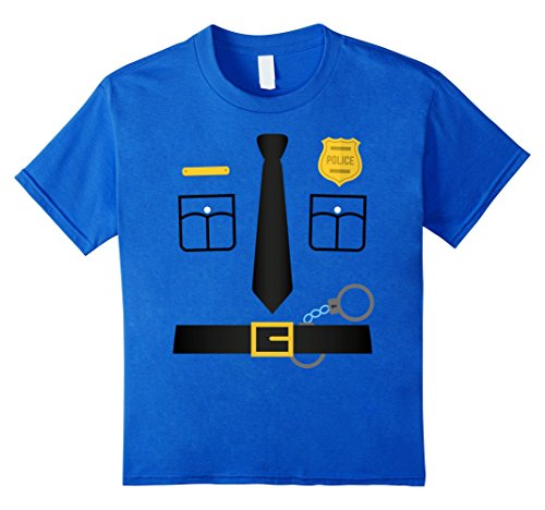 [Kids Police Uniform Costume Halloween T-Shirt - Kids to Adult 6 Royal Blue] (Police Officer Costume Shirt)
