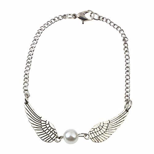 EIGA Silver Infinity Retro Pearl Angel Wings Jewelry Dove Peace Bracelet