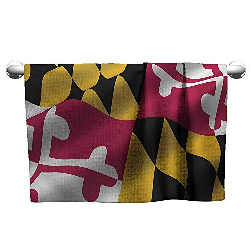 Holder Maryland Clip Paper (American,Camping Towels Flag of The US State of Maryland Closeup 3D Style Picture Waving America National Washcloths Multicolor W 28