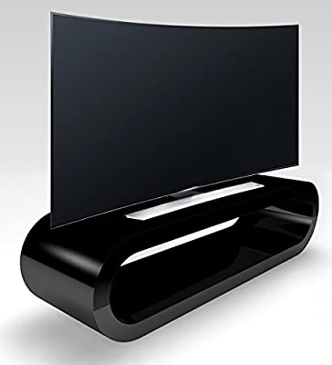 Zespoke Retro Style Hoop Large Black High Gloss Tv Stand / Cabinet 110Cm Width