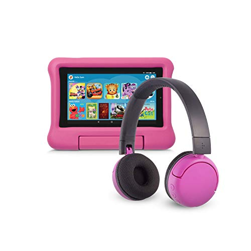Fire 7 Kids Edition Tablet (16 GB, Pink Kid-Proof Case) + BuddyPhones Headset, Pop Time in Pink (Ages 8-15)