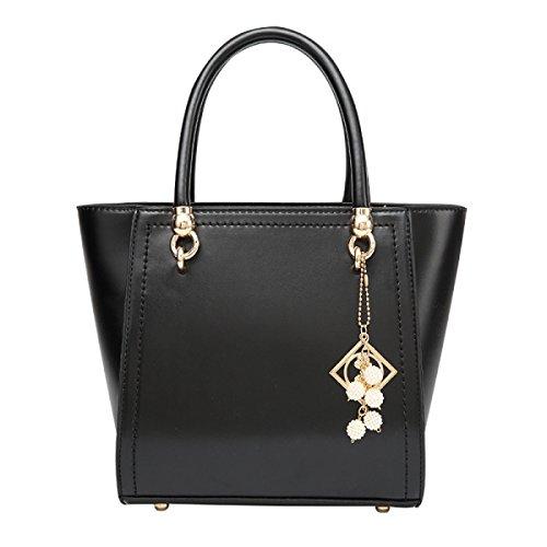 Moda Retro Piel De Cera De Aceite Señoras Mano Hombro Messenger Bag Black