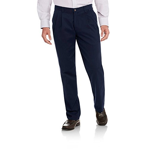 George Men's Pleated 100% Cotton Twill Dress Pants With Scotchgard (32x30, Dark Navy)