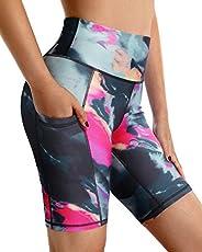 G4Free High Waist Yoga Shorts with Pockets Shorts for Women Running Exercise Shorts Leggings