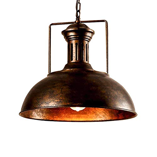 Vintage Industrial Nautical Barn Pendant Light, MKLOT 15.75″ Wide Pendant Lamp with Rustic Dome/Bowl Shape Mounted Fixture Ceiling Light Chandelier in Copper 1-Light with Chain