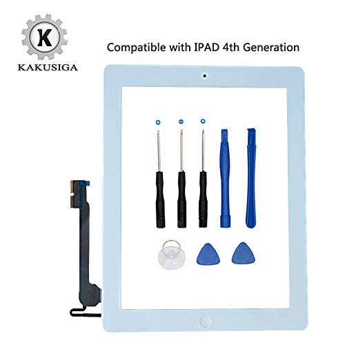 KAKUSIGA Compatible with ipad 4th Generation Touch Screen Glass Digitizer Replacement, Home Button Flex, Adhesive Tape,Repair Tools kit (White)