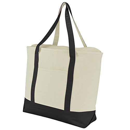 "DALIX 20"" Large Cotton Canvas Zippered Shopping Tote Grocery Bag in Black"