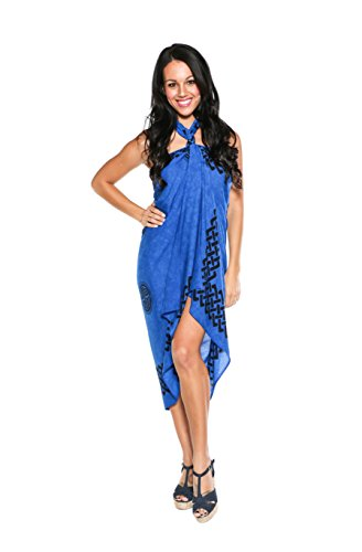 1 World Sarongs Womens Celtic Cover-up Fringeless (TM) Sarong Interlace Knotwork in Royal Blue