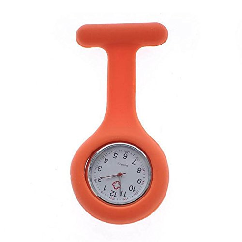 Accented Tall Fashion - Swyss Nurse's Gown Silicone Brooch Watch Chic Charm Accessories New HOT Fashion (Orange)