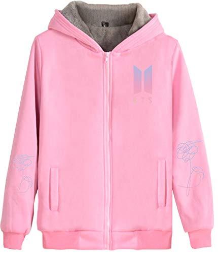de à réponse sa zippées veste demande manteau Sherpa femme capuche me lettres garçons en imprimée rose polyester Bts Emilyle déchirure Bangtan P5vwx